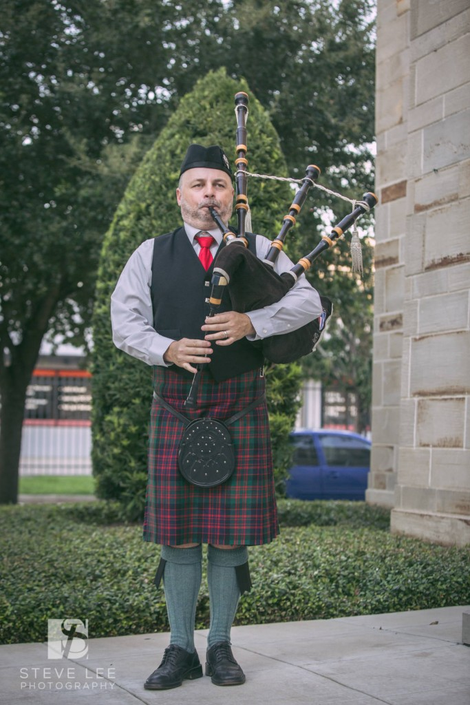 Bagpiping outside the McDaniel wedding in Houston TX